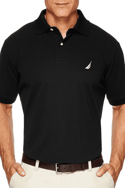 NAUTICA SHORT SLEEVE SOLID POLO - TRUE BLACK