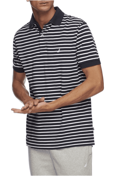 NAUTICA POLO XS NAUTICA SHORT SLEEVE STRIPE POLO - NAVY/WHITE