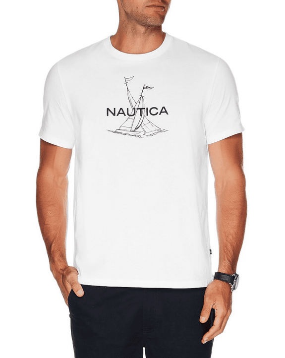 NAUTICA TEES NAUTICA SHORT SLEEVE ANCHOR FLAG GRAPHIC T-SHIRT - WHITE