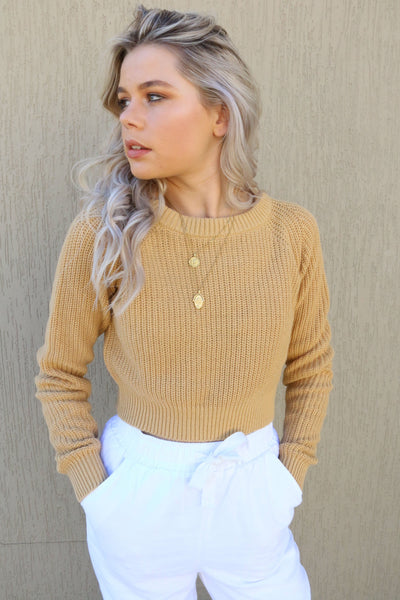 NUDE LUCY TOPS NUDE LUCY BROOKLYN CROP KNIT - WASHED MUSTARD