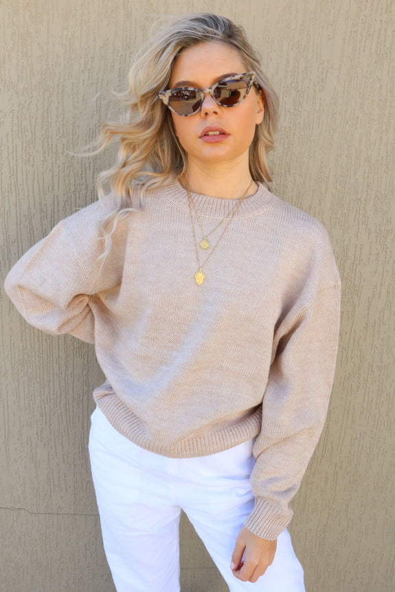 NUDE LUCY TOPS NUDE LUCY OTIS KNIT - CREAM MARLE