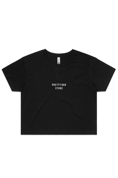 Pretty Rad Store TOPS PRS SUPPLY WOMENS CROP TEE - BLACK