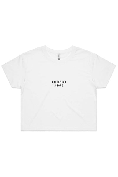 Pretty Rad Store TOPS PRS SUPPLY WOMENS CROP TEE - WHITE