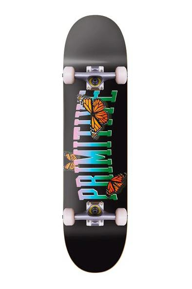 "PRIMITIVE SKATEBOARDS SKATE COMPLETE PRIMITIVE COLLEGIATE BUTTERFLY COMPLETE SKATEBOARD 7.3"" - BLACK"
