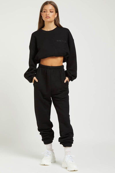 SNDYS LADIES PANTS SNDYS THE LABEL FLIX SWEATPANT - BLACK