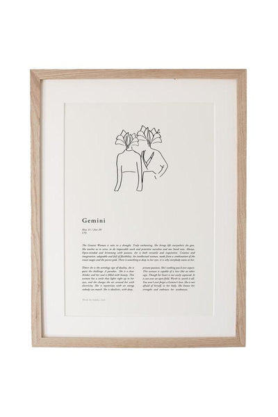 SUNDAY LANE ARTWORK SUNDAY LANE ZODIAC 02 PRINT - GEMINI