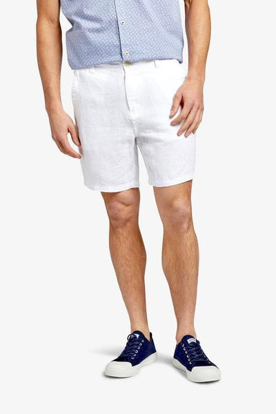 The Academy Brand SHORTS THE ACADEMY BRAND MARCO LINEN SHORT - WHITE