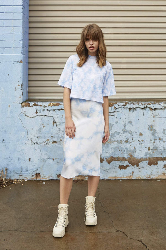 THE FIFTH LABEL SKIRTS THE FIFTH LABEL SOUND SKIRT - BLUE TIE-DYE