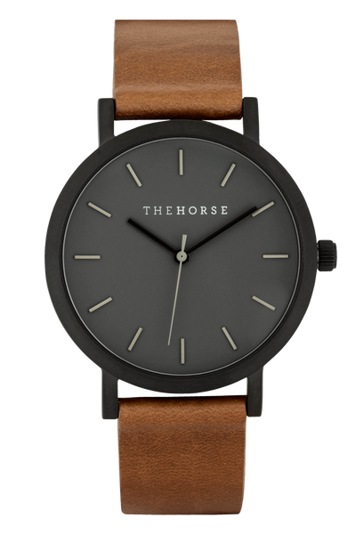 THE HORSE WATCHES THE HORSE 'MINI ORIGINAL' WATCH - BLACK FACE/TAN LEATHER