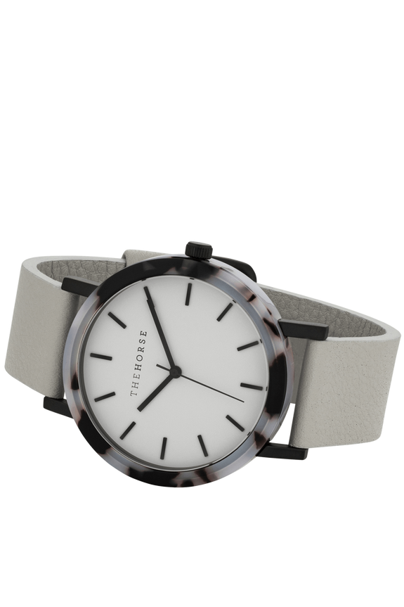 THE HORSE WATCHES THE HORSE 'MINI RESIN' WATCH - BLONDE TORT/SOFT GREY DIAL/GREY LEATHER