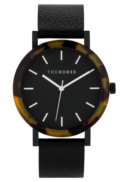 THE HORSE WATCHES THE HORSE 'MINI RESIN' WATCH - BROWN TORT/BLACK DIAL/BLACK LEATHER