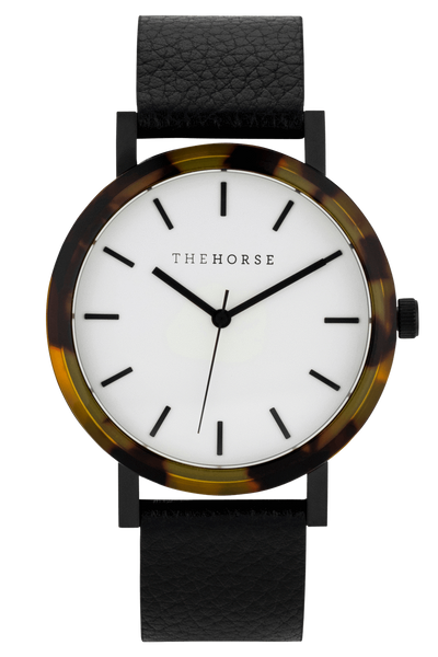 THE HORSE WATCHES THE HORSE 'MINI RESIN' WATCH - BROWN TORT/WHITE DIAL/BLACK LEATHER