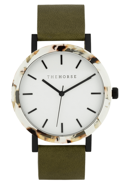 THE HORSE WATCHES THE HORSE 'MINI RESIN' WATCH - NOUGAT/WHITE DIAL/GREY LEATHER