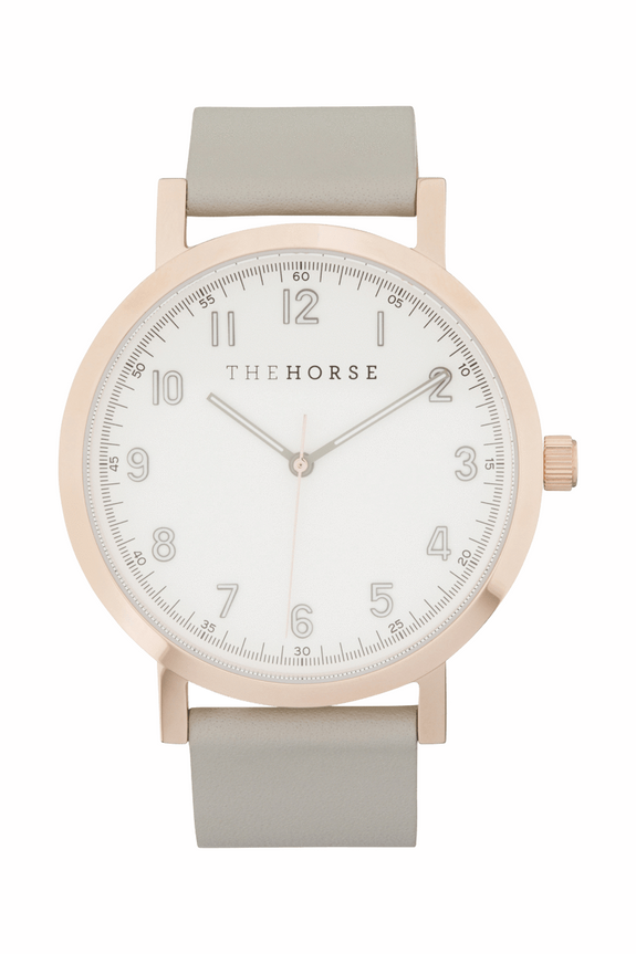 THE HORSE WATCHES THE HORSE 'ORIGINAL 2.0' WATCH - POLISHED ROSE GOLD/ WHITE/GREY LEATHER