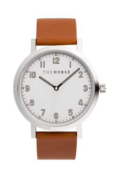 THE HORSE WATCHES THE HORSE 'ORIGINAL 2.0' WATCH - POLISHED SILVER/ WHITE/TAN LEATHER