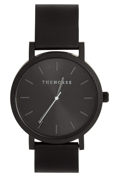 THE HORSE WATCHES THE HORSE 'THE ORIGINAL' WATCH - MATTE BLACK/BLACK SUNRAY/BLACK LEATHER