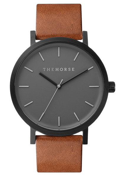 THE HORSE WATCHES THE HORSE 'THE ORIGINAL' WATCH - MATTE BLACK/TAN LEATHER