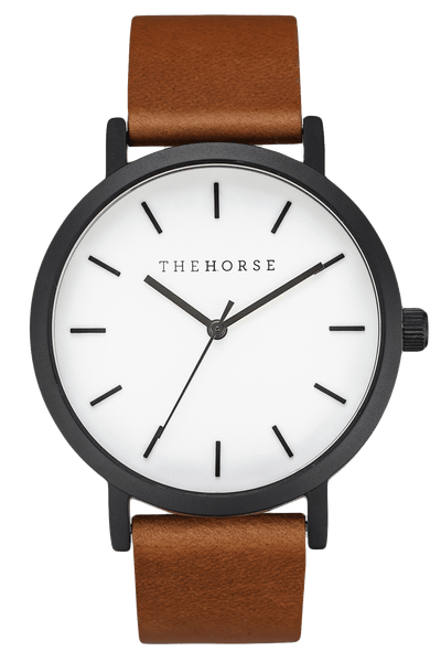 THE HORSE WATCHES THE HORSE 'THE ORIGINAL' WATCH - MATTE BLACK/WHITE FACE/TAN LEATHER