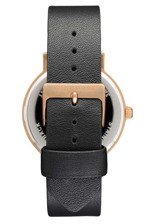 THE HORSE WATCHES THE HORSE 'THE ORIGINAL' WATCH - ROSE GOLD/BLACK FACE/BLACK LEATHER