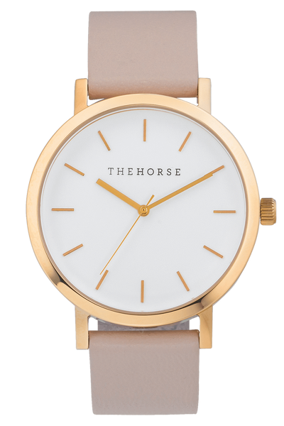THE HORSE WATCHES THE HORSE 'THE ORIGINAL' WATCH - ROSE GOLD/WHITE FACE/BLUSH LEATHER