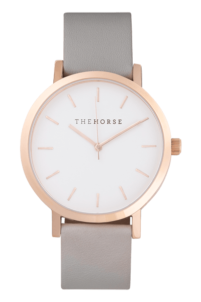 THE HORSE WATCHES THE HORSE 'THE ORIGINAL' WATCH - ROSE GOLD/WHITE FACE/GREY LEATHER