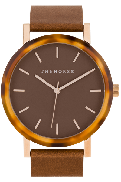 THE HORSE WATCHES THE HORSE 'THE RESIN' WATCH - CARAMEL TREACLE/DARK CARAMEL DIAL/TAN LEATHER