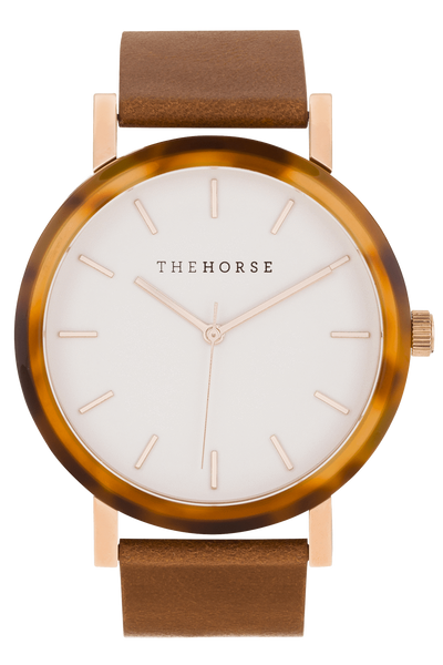 THE HORSE WATCHES THE HORSE 'THE RESIN' WATCH - CARAMEL TREACLE/WHITE DIAL/TAN LEATHER