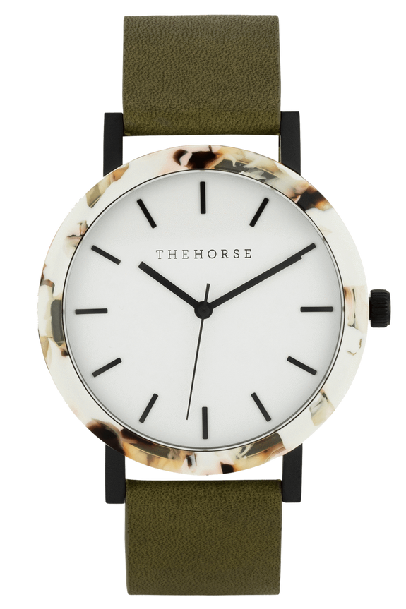 THE HORSE WATCHES THE HORSE 'THE RESIN' WATCH - NOUGAT/WHITE DIAL/OLIVE LEATHER
