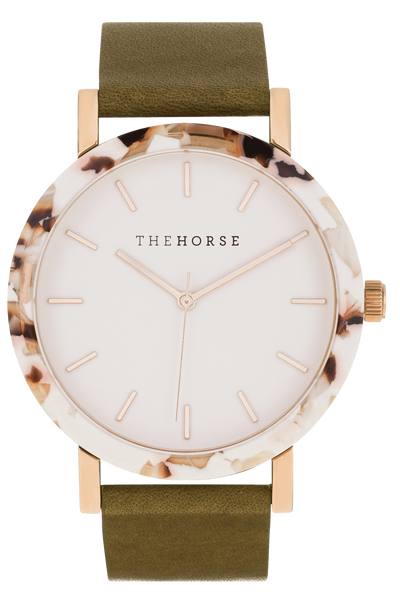 THE HORSE WATCHES THE HORSE 'THE RESIN' WATCH - NOUGAT/WHITE DIAL/ROSE GOLD INDEXING/OLIVE LEATHER