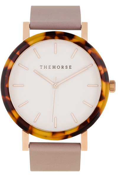 THE HORSE WATCHES THE HORSE 'THE RESIN' WATCH - TORT SHELL/WHITE DIAL/BLUSH LEATHER