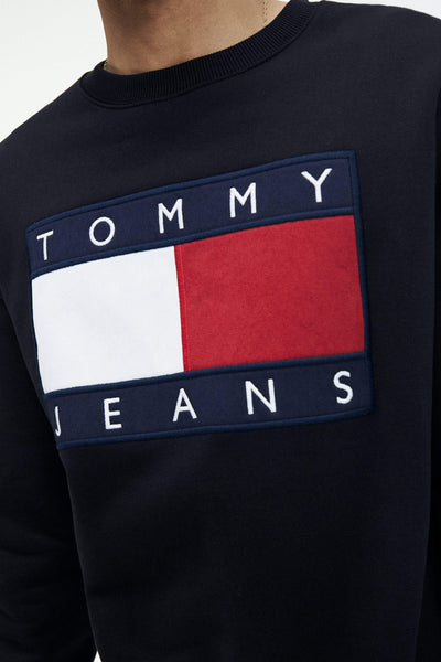 TOMMY JEANS HOODIES TOMMY JEANS FLAG CREW - TOMMY BLACK