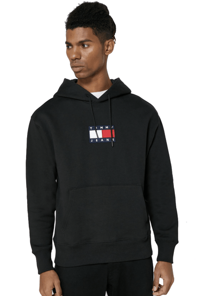 TOMMY JEANS HOODIES TOMMY JEANS SMALL FLAG HOODIE - BLACK