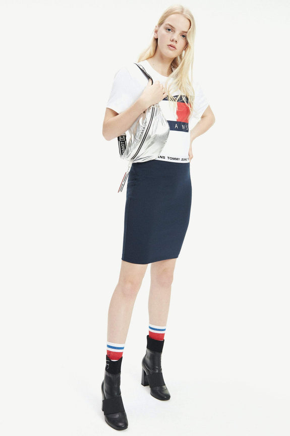 TOMMY JEANS TOPS TOMMY JEANS FLAG CROPPED T-SHIRT - CLASSIC WHITE