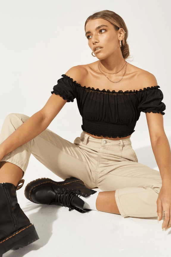 TWIIN TOPS TWIIN MELLOW MESH TOP - BLACK