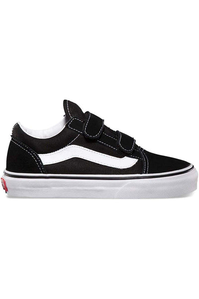 1d4e85a5649 VANS FOOTWEAR 11 VANS KIDS OLD SKOOL VELCRO - BLACK TRUE WHITE