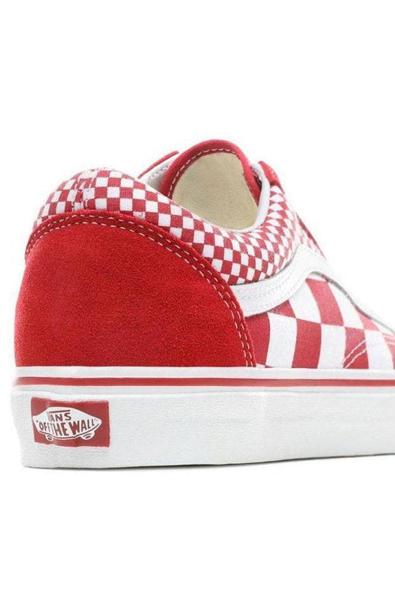 VANS FOOTWEAR MENS 4/LADIES 5.5 VANS OLD SKOOL MIX CHECKER - RED/ CHILLI PEPPER