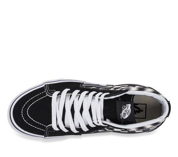 VANS FOOTWEAR MENS 4/LADIES 5.5 VANS SK8-HI BLUR CHECK - BLACK/WHITE