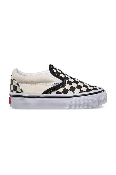 VANS FOOTWEAR VANS TODDLER CHECKERBOARD SLIP ON'S  - BLACK/WHITE