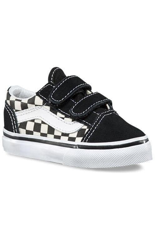 VANS FOOTWEAR VANS TODDLER OLD SKOOL VELCRO - PRIMARY CHECK BLACK/WHITE