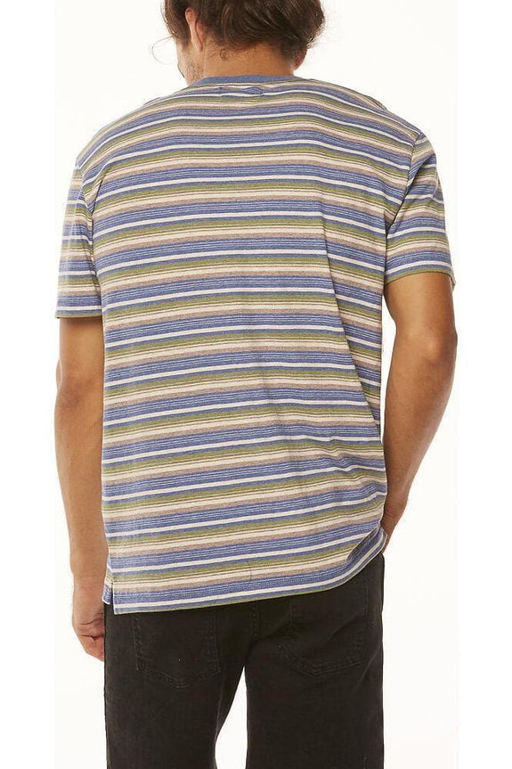 WRANGLER TEES WRANGLER VEDDER TEE - DUSTY STRIPE BLUE