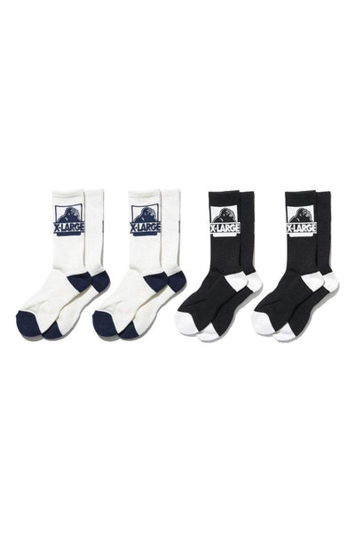 X-LARGE SOCKS ONE SIZE X-LARGE OG 4PK SOCKS - BLACK/WHITE