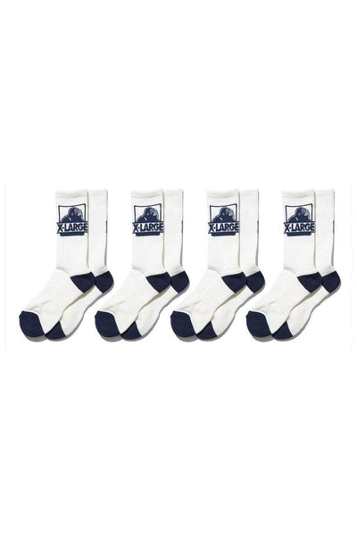 X-LARGE SOCKS ONE SIZE X-LARGE OG 4PK SOCKS - WHITE