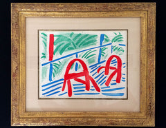 David Hockney Two Red Chairs framed