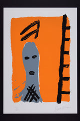 Man with ladder orange by Bruce McLean