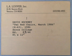 David Hockney La Louver gallery label