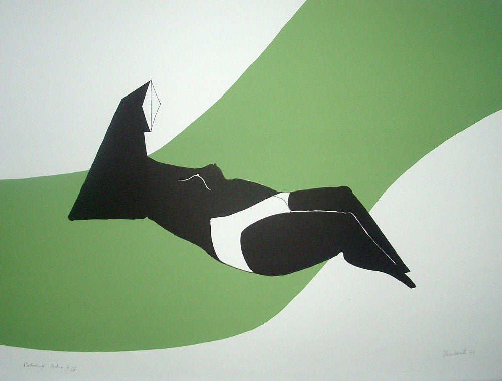 lynn chadwick reclining figure on green wave