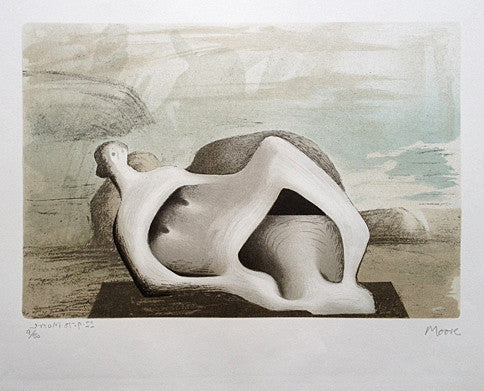 henry moore reclining figure against sea and rocks