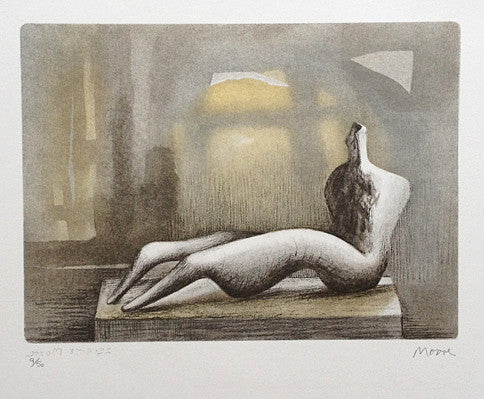 henry moore reclining figure sunset 1978 print