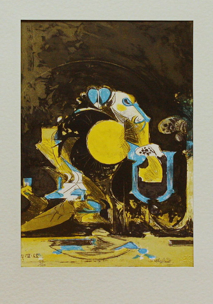 graham sutherland landscape with forest and rock
