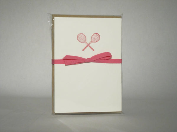 Green Grape Press Crossed Tennis Racquets Letterpress Cards